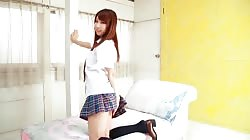 Softcore beautiful asian schoolgirl skirt tease