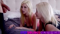 First time threesome with tiny teen step sister
