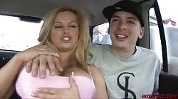 Huge tits Mom Friday sucks cock in van then fucks a young guy